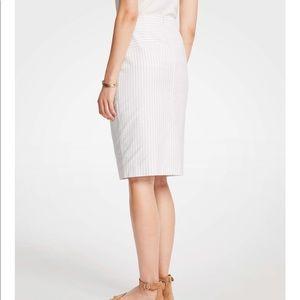 Ann Taylor Sailor White Petite Pencil Skirt